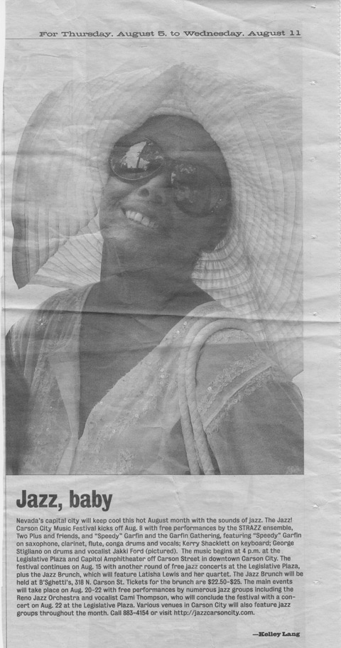 Jakki Ford Jazz, Baby Article for the Nevada Appeal